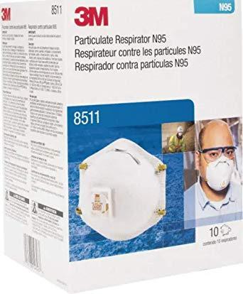 3M 8511 Respiradores de partículas, N95, válvula de flujo refrigerado, caja de 10