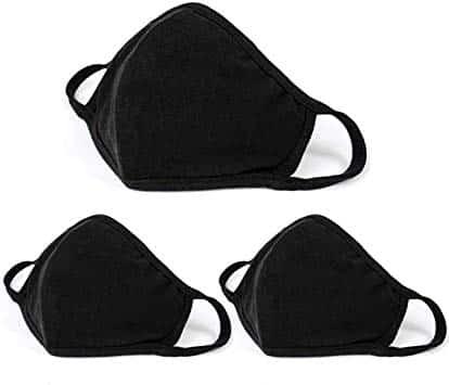 Aooba - 3 máscaras protectoras para la cara, unisex, color negro, para la boca de algodón, lavables, reutilizables.